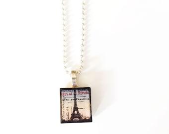 Eiffel Tower Scrabble Tile Necklace