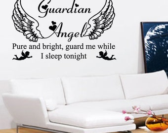 Guardian Angel Wall Art, Angel Heaven Wall Art - Vinyl Wall Art Sticker Decal - Living Room, Bedroom, Hall