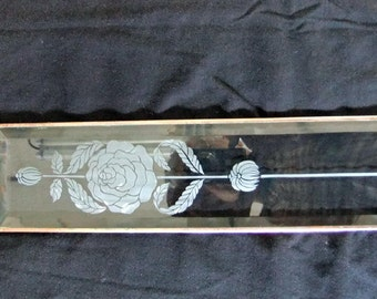 Stained Glass Window Vintage Rose Deep Etched Bevel Stained Glass Window Panel