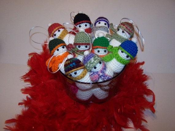 Amigurumi Snowman Ornament : Your Choice Amigurumi Crochet Snowman Ornament w/Scarf & Hat