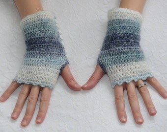 Stripey crocheted wristwarmers with button fasten in shaded blue and white