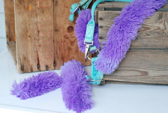 Equine Halter Covers In Bright Purple Feathery Long Faux Fur