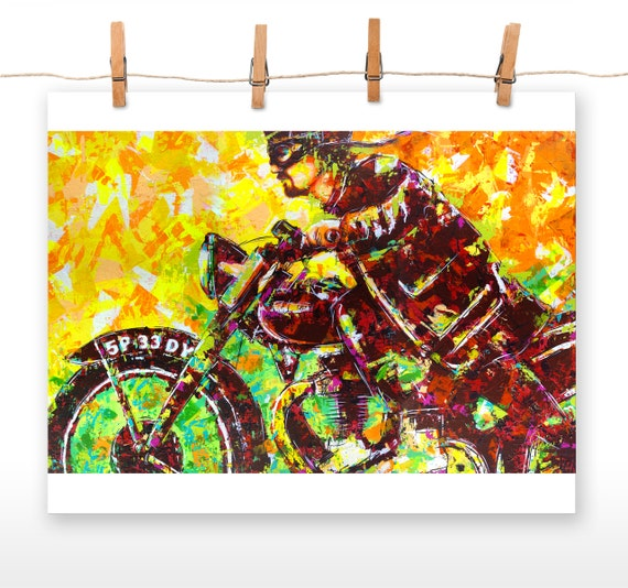 MOTORCYCLE 16x20 Poster Print of an Original Acrylic Painting entitled '5P-33-DY'