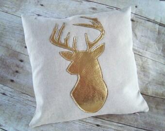 Deer Pillow / Linen cover / Metallic Gold Deer head / deer silhouette pillow / antler pillow / stag silhouette / metallic pillow cover