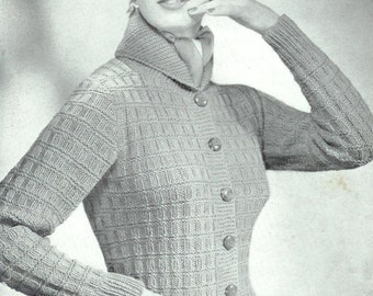 DK 8ply LIGHT Worsted Jacket with a Roll Collar 34-36ins -Argyll 155 - PDF of  Vintage Ladies Knitting Patterns