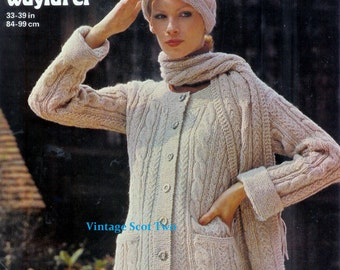Ladies Jacket Hat & Scarf in Aran 10ply Light worsted  Sizes 33 - 39 ins - PDF of  Vintage Knitting Pattern Instant Download
