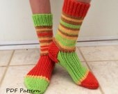 PDF Knitting PATTERN- Harvest Slipper Socks. Sizes: Small, Medium, Large and Xlg. Video tutorials in pattern.