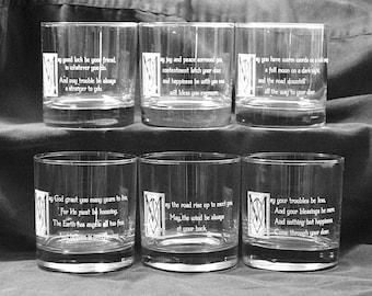 Set of Six Irish Whiskey Glasses with Irish Blessings