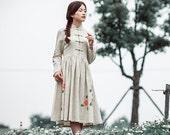 Maxi Dress Summer Dress Long Dress Womens Long Dress Long Sleeve Maxi Dress Hand Painted Flower Autumn Dress