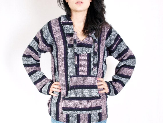 Baja Mexican Blanket Sweater - Pink, Black and Grey Hooded Pullover ...