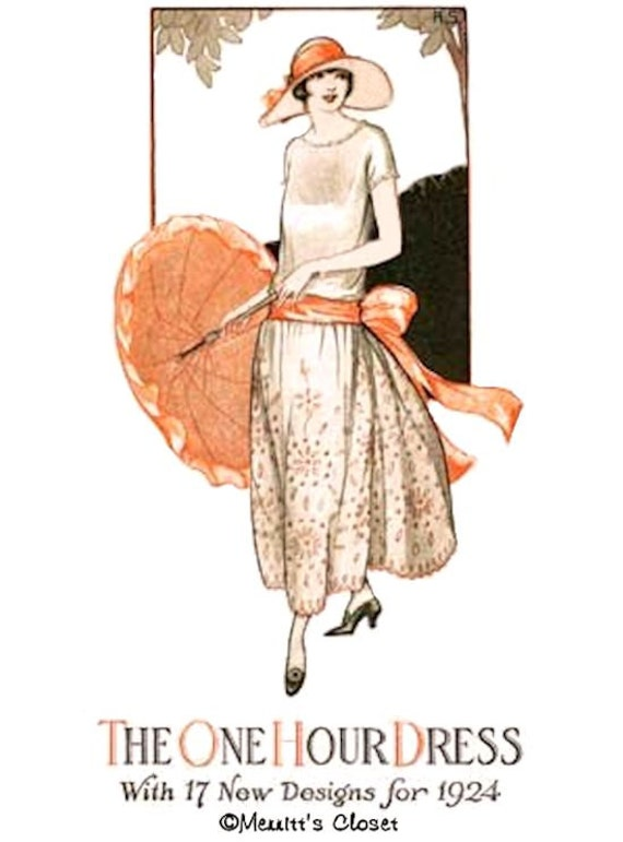 1920s Patterns – Vintage, Reproduction Sewing Patterns 1924 One Hour Dress ePattern $4.50 AT vintagedancer.com