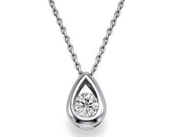 Vintage Moissanite Necklace, 14K White Gold Unique Jewelry, 0.5ct Forever One Moissanite Pendant Necklace, Bridal Jewelry