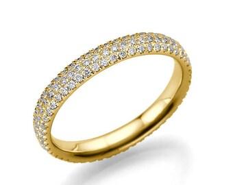 Delicate Wedding Ring, 14K Gold Wedding Band, 1 TCW Classic Diamond Wedding Ring, Womens Wedding Band, Unique Rings