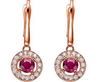 Red ruby Earrings, Dangle ruby  Earrings, 14K Rose Gold Earrings, 0.80ct Gold ruby Earrings, ruby diamond earrings, Halo ruby earrings