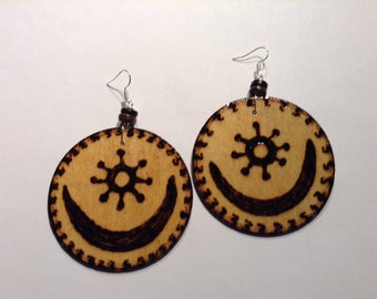 32- Natural Wood Earrings- Osram Ne Nsoromma
