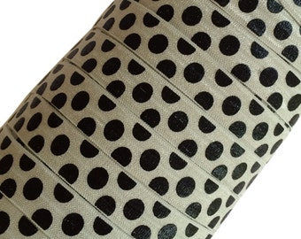 "Black Large Polka Dots on Silver 5/8"" Fold Over Elastic - 1, 3 or 5 Yards"