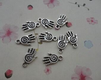 100pcs antique silver Metal Charms , healing hand pendant , healing hand charm , 19x11mm--CP572