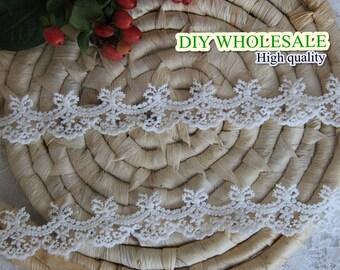 Cotton crochet Lace Trim White Embroidered Lace trim Scallop Floral Lace Net Fabric Cloth TRIM 3 yards