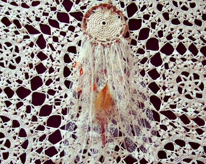 Bohemian Dreamcatcher - Boho Wall Decor - Small Lace Dream Catcher - Gypsy Bedroom Decor - Doily Dream Catcher - Hippie Decor