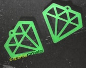 GLOW in the dark Diamond Charms - 2 pcs, laser cut acrylic, outline, tattoo, bling