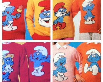 the smurfs knitting pattern sweaters for children and adults dk or 4 ply intarsia charts vintage character knitting