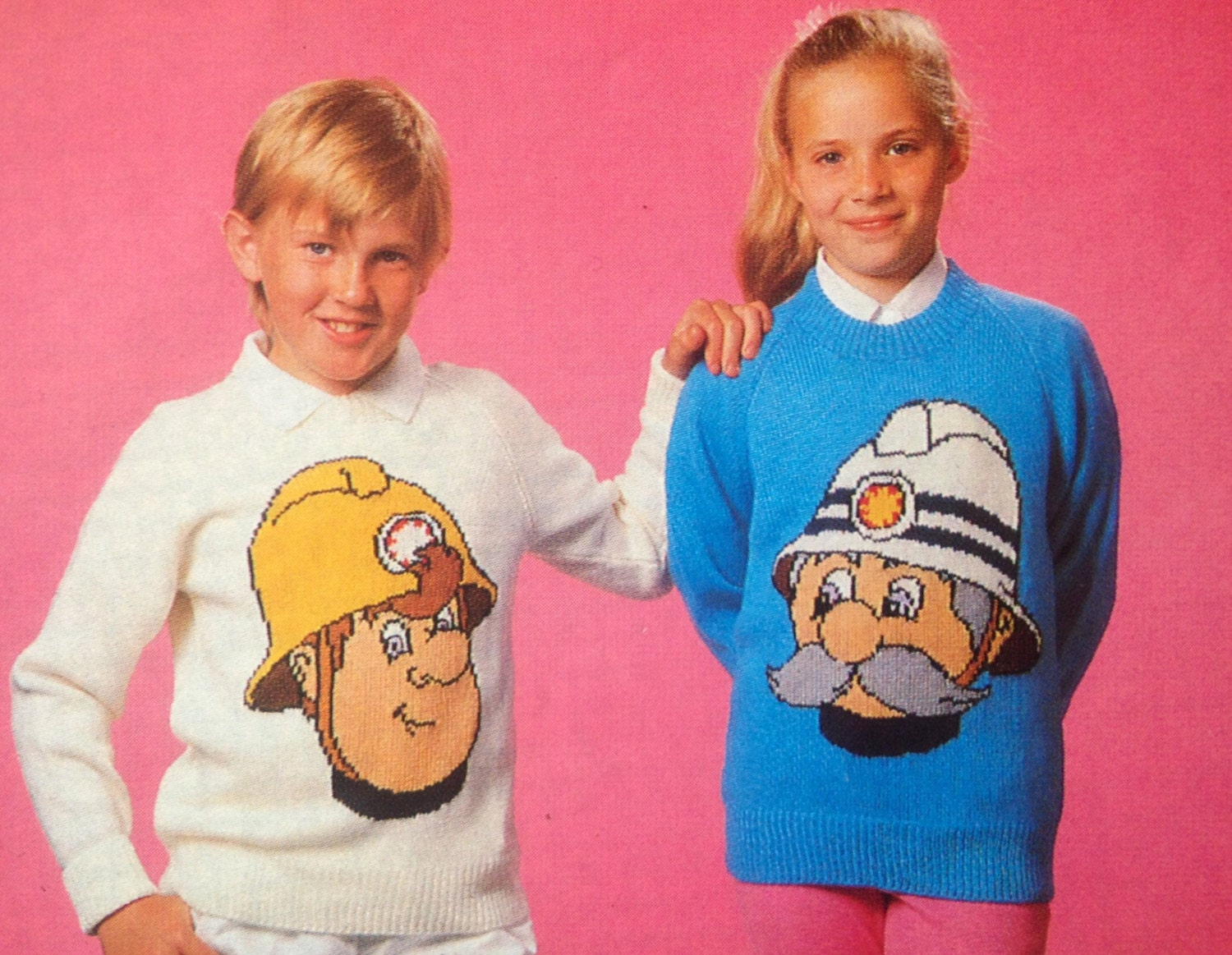 fireman sam knitting pattern sweaters for children and adults dk or 4 ply intasia charts vintage. Black Bedroom Furniture Sets. Home Design Ideas