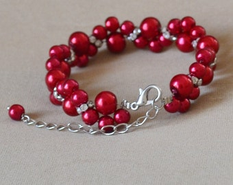 burgundy red pearl Bracelet,Glass Pearl Bracelet,Pearl  Flower Bracelet,Wedding Bracelet,Crystal bracelet,Bridesmaid Bracelet,Jewelry