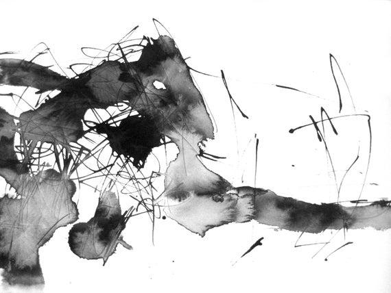 12x16in aquarelle fine art abstract watercolor drawing black for Minimal art kunstwerke