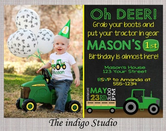tractor birthday party invitation with or without photo you print chalkboard invite card no photo - John Deere Party Invitations