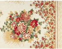 Asian Traditions Red Gold Metallic Floral Panel Fabric - Robert Kaufman by the PANEL