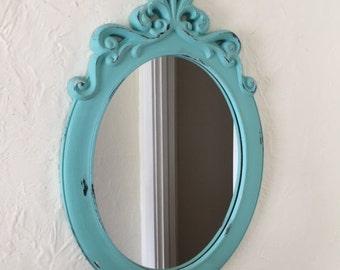 Oval mirror large, aqua/ robin egg Blue, ornate shabby chic