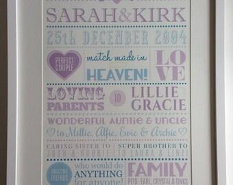 Personalised Wedding / Anniversary Print