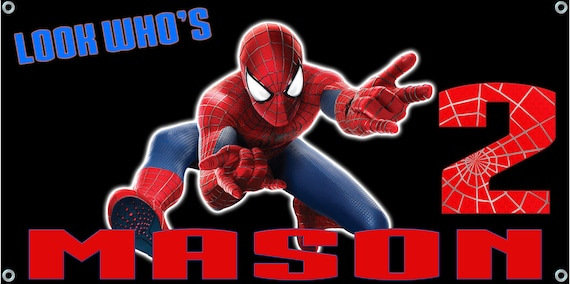 Spiderman Birthday Banner 4 ft x 2 ft - Personalized Custom - peter parker