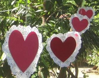 Paper Lace Heart garlands wedding outdoors parties decor