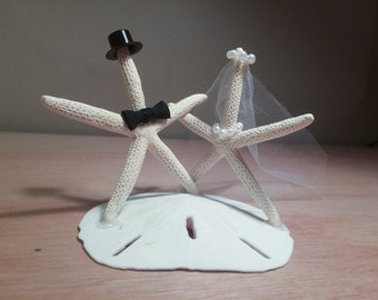 Bride and Groom Starfish Wedding Cake Topper / Decoration | Starfish Caketopper | Beach Wedding Caketopper
