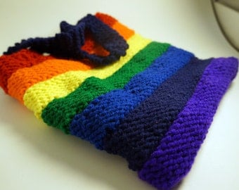 "Rainbow Striped Knit Purse; Handknit Bag, 9.5"" x 8, Fully-lined Shoulder Bag, Purple Cotton Inner, Snap-Closure Pocket."