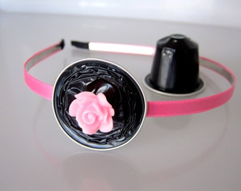 Upcycled Metal Headband Decorated With a Flower Made From Nespresso Capsules in Pink & Black