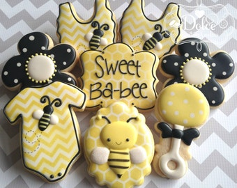 Bee Bumble Bee Baby Shower Cookies