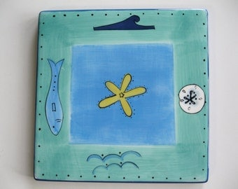 Hand Painted Tile ,  Hand Painted Blue Green Ocean Tile Trivet,  Seaside Collection Stonemite Tile