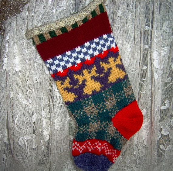 Christmas Stocking Knitted Fair Isle & by GrandmasHeartStrings