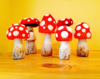 Felted Toadstool sculptures