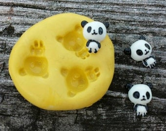 Mini Pandas Flexible Silicone Mold for polymer clay, wax, candy, fondant, chocolates, and resin