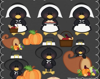 Thanksgiving Pilgrim Crows Clipart