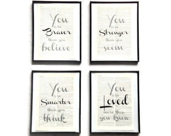 You of set of 4 are... Motivation vintage art print encyclopedia