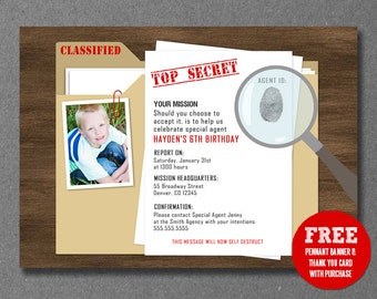 Secret Agent/Spy/Detective Birthday Invitation - Printable - FREE pennant banner and thank you card with purchase