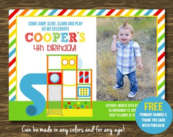 Playground Birthday Invitation in Red - Printable - FREE pennant banner and thank you card with purchase