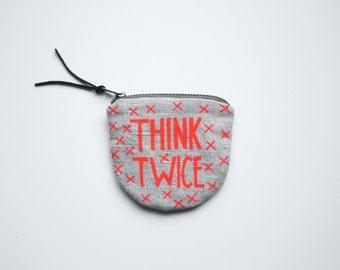 Réfléchissez-Y à deux fois / portefeuille argent tissu avec la main imprimé argent économie d'impression fluo rouge-orange