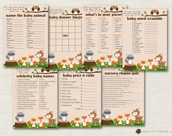 Woodland Baby Shower Games - Animal Baby Shower Games, Printable Baby Shower Games, Baby Shower Game, Baby Animal, Baby Shower Bingo-DIY