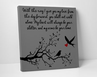 Love Birds, Canvas Wall Art, Your Wedding Vows
