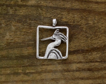 Snowy Egret in Sterling Silver, detailed on both sides.